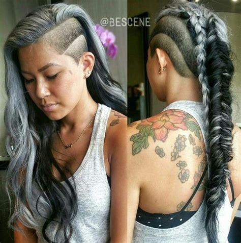 mohawk side designs gray side shave fishtail braid mohawk hair makeup