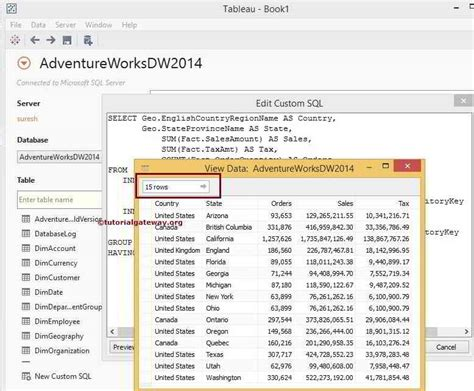 tableau tutorial sql connecting tableau to sql server