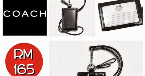 Charles N Keith Ori Murah Ck 70200 Black coach park leather signature lanyard id badge holder black shantek collection