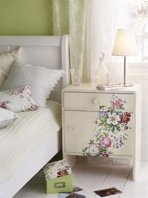 Decoupage Bedside Table - pretty inspiration for a guest or s bedroom