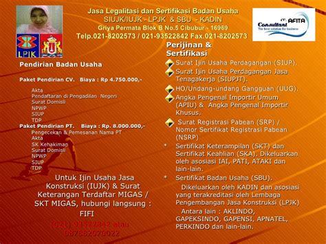 surat ijin usaha jasa konstruksi siujk 021 8202573