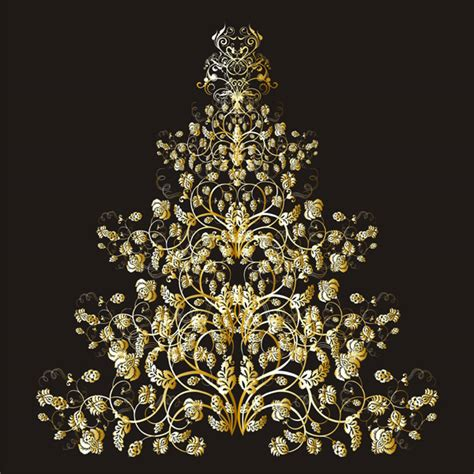 golden christmas tree vector free vector 4vector