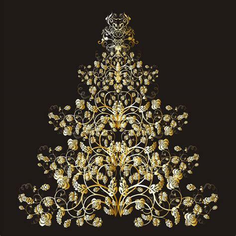 goldener weihnachtsbaum golden tree vector free vector 4vector