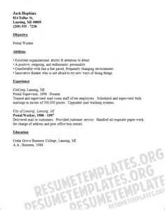 Postal Worker Sle Resume by Postal Worker Resume Templates Postal Distribution Cv Sles