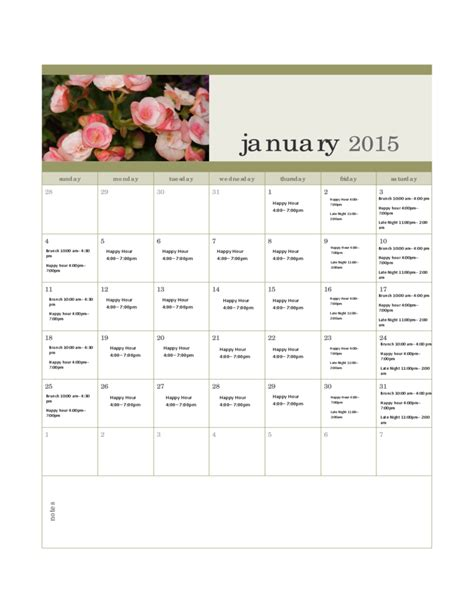 monthly calendar template 2015 www imgkid com the