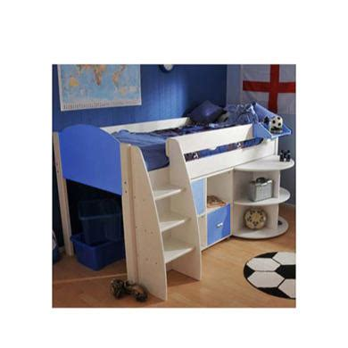 bed and desk combo stompa rondo kids white midsleeper bed in blue with desk