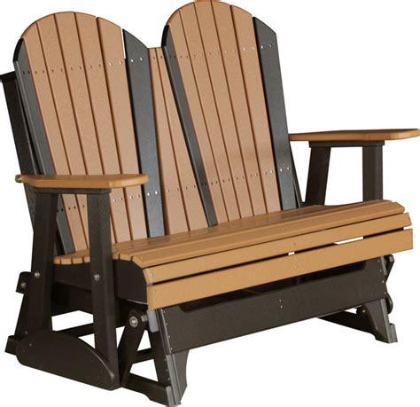 black glider bench 4 poly adirondack glider bench cedar and black modern