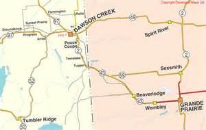 columbia maps dawson creek bc driving direction