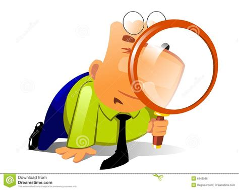 Search For Looking For Clerk With Big Magnifying Glass Look For Something Stock Vector Illustration Of