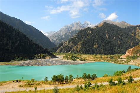 wallpaper lake issyk kul kyrgyzstan mountains forest