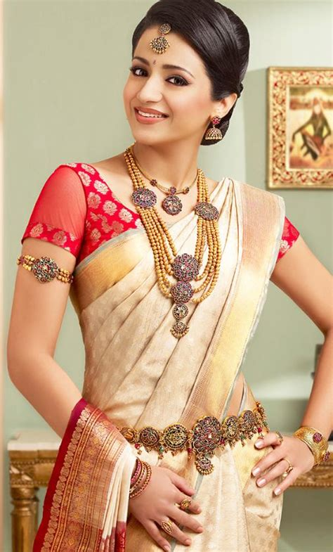 on pinterest saree blouse south indian bride and bridal sarees trsha in half white pattu saree and jewellery bridal