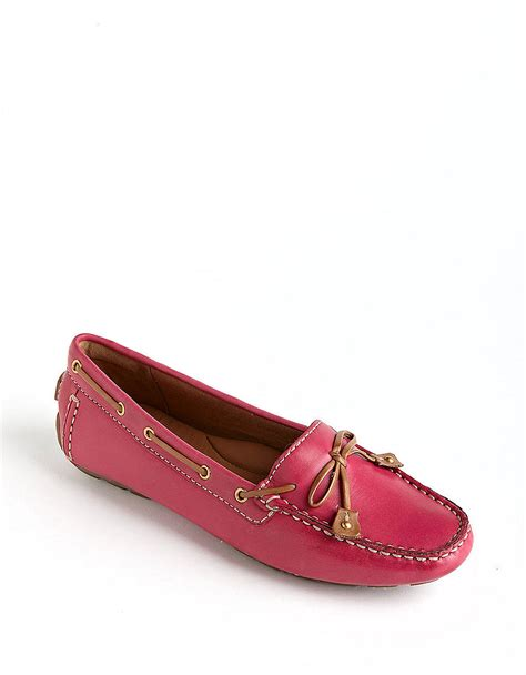 pink leather loafers clarks dunbar racer leather loafers in pink lyst