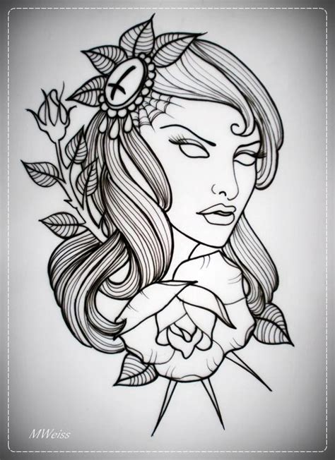 hot tattoo outlines girl with rose tattoo flash outline by oldskulllovebymw
