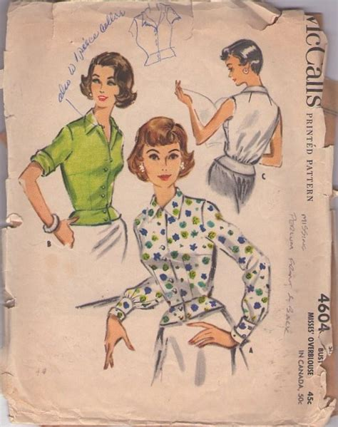 Blouse B 1958 1958 50s rockabilly era retro clothing patterns beautiful front buttoned blouse