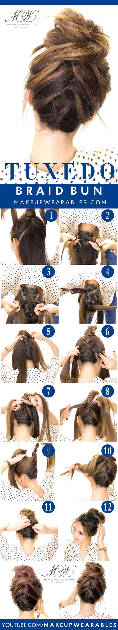 Hairstyles Buns Step By Step by How To Do The Amazing Tuxedo Braid Bun Hairstyle
