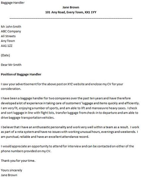 Airport Baggage Handler Cover Letter cover letter for a airport baggage handler icover org uk