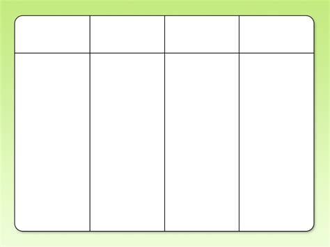 Blank Template by Blank Chart Template 4 Column Simple Portrait Furthermore