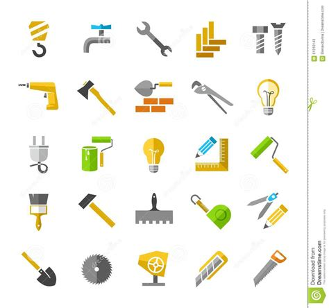 construction tools clip construction and repair color icons stock vector image