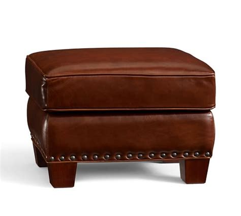 leather ottomans with nailheads irving leather storage ottoman with nailheads pottery barn
