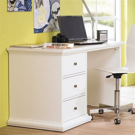 Three Drawer Desk In White 7782049 Home Office Desk With Drawers