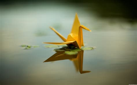 Origami Pond - wallpapers 1280x1024 origami yellow