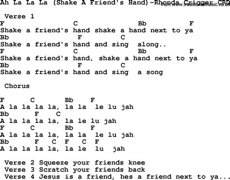 In L Lyrics by Christian Childrens Song Ah La La La Shake A Friend S