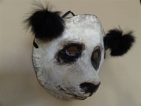 Mask Paper Mache - 3d mask paper mache animal masks panda mask by