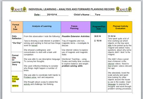 program plan template for child care analysis reflection and evaluation in early childhood