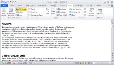web layout microsoft word 2010 ways to view in word 2010