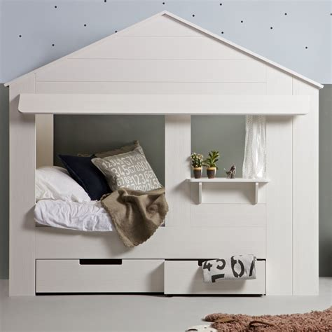 house bed kids house cabin bed in white pine with storage drawers cabin beds