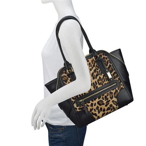 nine west punch leopard print tote bag lyst