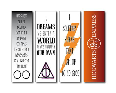printable bookmarks harry potter harry potter bookmarks instant download from printandshow on