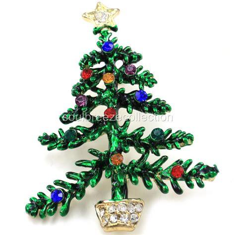 happy colorful xmas christmas tree brooch pin multicolor