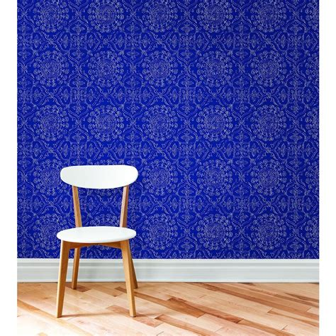 peel and stick wallpaper nuwallpaper blue byzantine peel and stick wallpaper sle nu1816sam the home depot