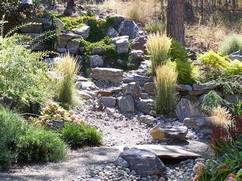 dry creek bed landscaping ideas synergy landscape landscape design with feng shui and xeriscaping kelowna bc