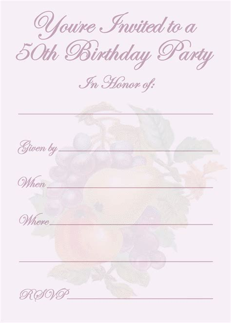 birthday invitations templates free printable 50th birthday invitations templates