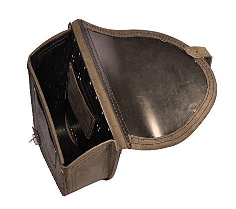 swing arm bags harley davidson softail skull brown leather saddlebag