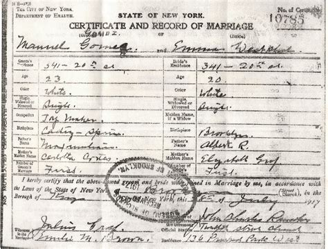Birth Records Nyc Ny Marriage Certificate Genealogy