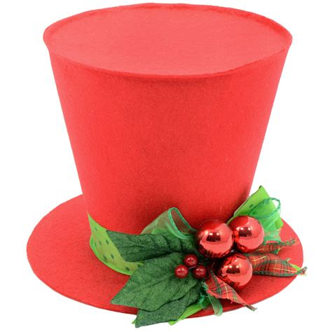 red felt christmas holly top hat decoration 7 quot 3119044