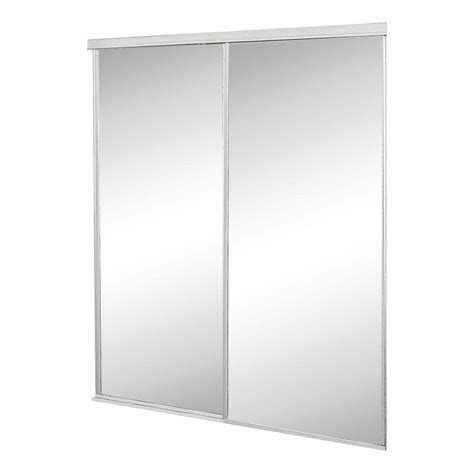 Home Depot Closet Doors Sliding Contractors Wardrobe 48 In X 81 In Concord Mirrored White Aluminum Interior Sliding Door Con