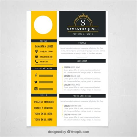 template resume freepik yellow resume template vector free