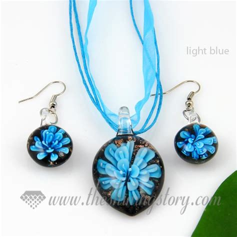 glass jewelry flower olive venetian murano glass pendants and earrings