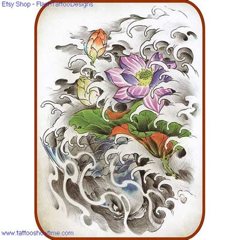 tattoo koi flower koi flower tattoo design 27 for you on etsy top quality
