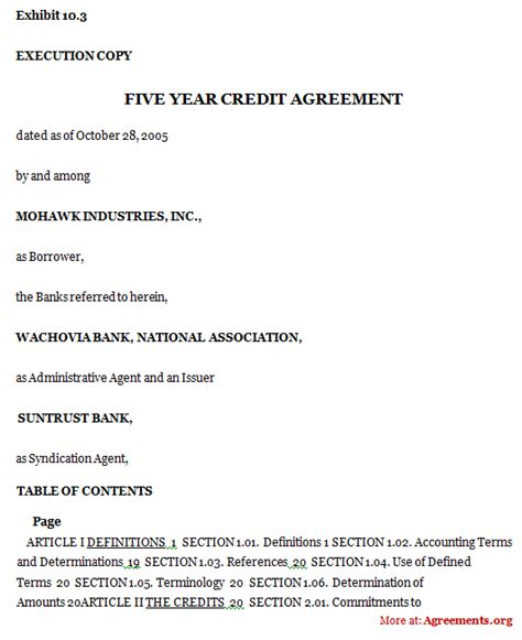 Credit Agreement Form Addendum Template Wordscrawl