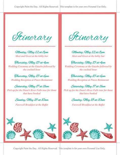 wedding itinerary for guests template wedding itinerary template wedding planner coral