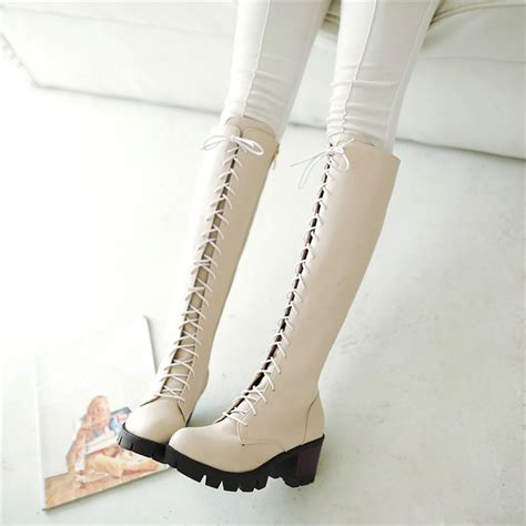 winter white high heel boots winter white leather boots lace up knee high thick