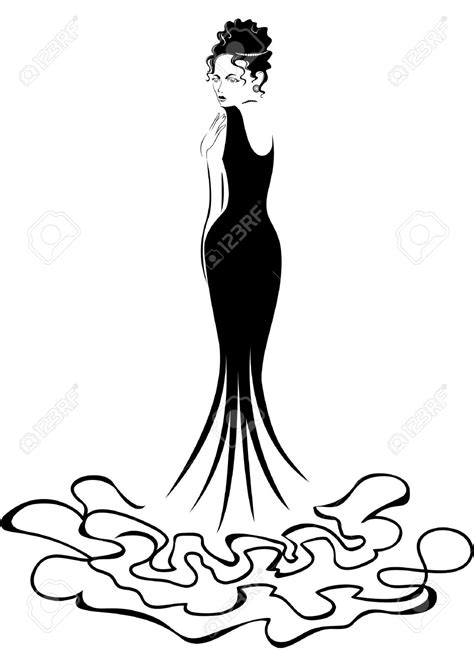 Vector Silhouette Of Young Woman In A Beautiful Elegant Dress - Wedding Dress Inspiration