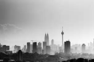 kuala lumpur skyline morning black and white