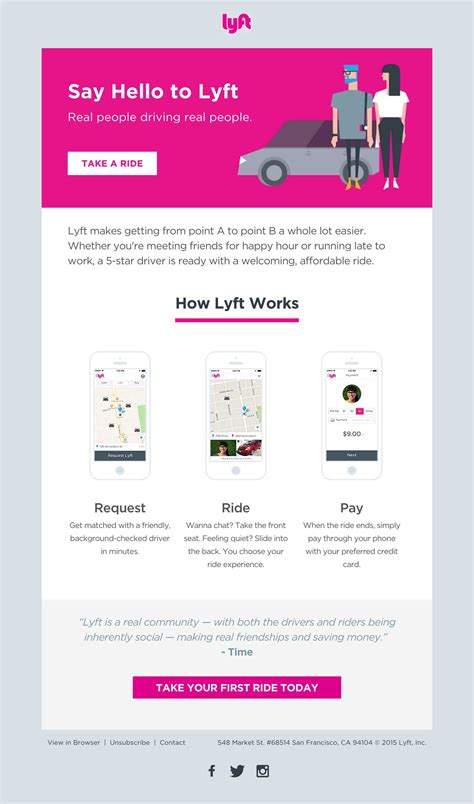 design an email template the lyft welcome email is clean minimal and with a