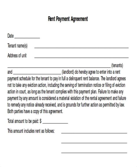 10 Sle Payment Plan Agreements Sle Templates Rent Payment Agreement Template